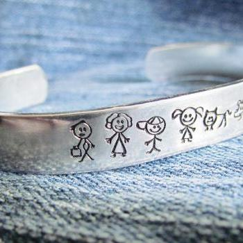 Stick Family Bracelet Cuff Hand Stamped Cat Dog Baby Mom Dad Girl Boy Personailzed for You